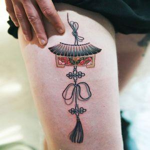 大腿小清新中国结纹身图案