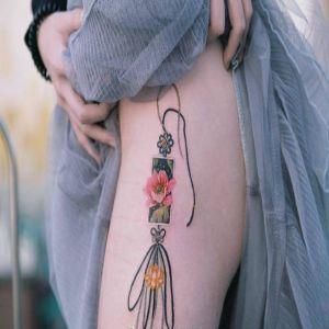 大腿小清新牡丹花中国结纹身图案