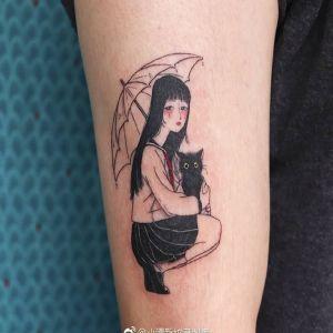 大臂小清新动漫美少女可爱猫咪纹身图案