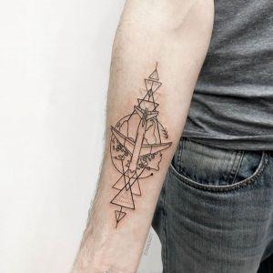 小臂小清新几何风飞机纹身图案