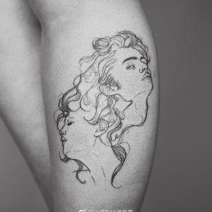 小腿小清新情侣肖像纹身图案