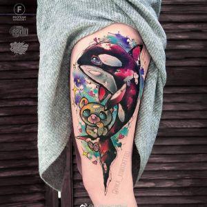 大腿水彩风海豚卡通小熊纹身图案