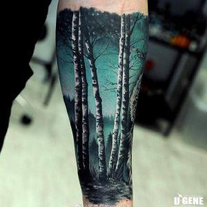 小臂彩色写实蓝色森林纹身图案