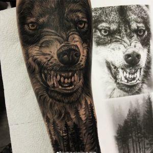 手臂黑灰写实森林狼纹身图案