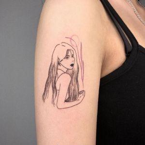 大臂小清新黑灰风美女人物纹身图案