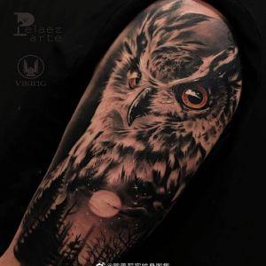 写实黑灰森林系猫头鹰纹身图案