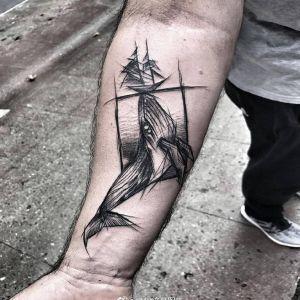 小臂黑灰简约点刺几何风鲸鱼纹身图案