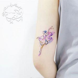 大腿小清新芭蕾舞女孩纹身图案