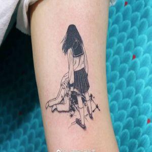 大臂小清新暗黑风动漫少男少女纹身图案