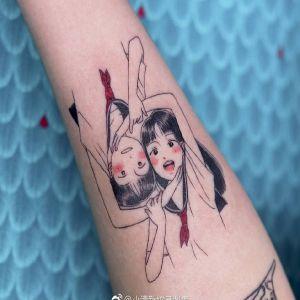 小臂小清新暗黑风美少女纹身图案