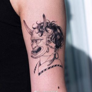 大臂小清新暗黑风美少女般若面具纹身图案