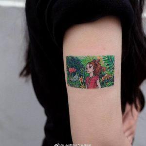 大臂小清新油画风动漫美少女纹身图案