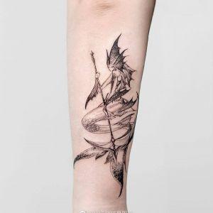 小臂小清新人鱼纹身图案