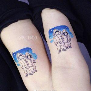 情侣大臂小清新简笔画纹身图案