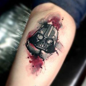 小腿水彩风黑武士纹身图案