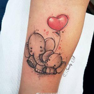 小臂水彩风动漫卡通小象爱心气球纹身图案