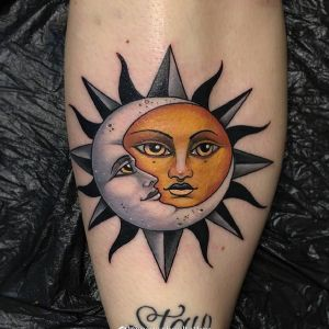 小腿newschool风格太阳月亮图腾纹身图案