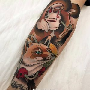 小臂newschool风格狐狸纹身图案