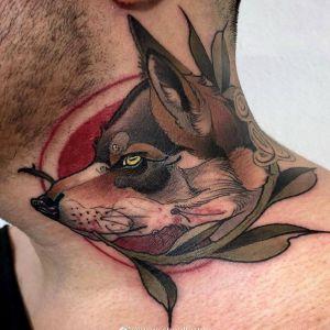 颈部newschool风格狼纹身图案