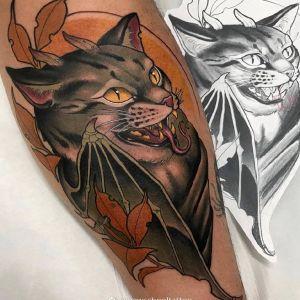 小腿newschool蝙蝠邪恶猫咪纹身图案