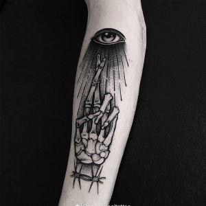 手臂黑灰newschool骷髅手眼睛纹身图案