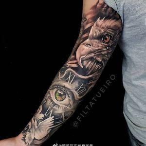 欧美写实鹰钟表眼睛白鸽花臂纹身图案