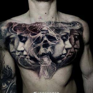 胸口欧美写实美女骷髅纹身图案