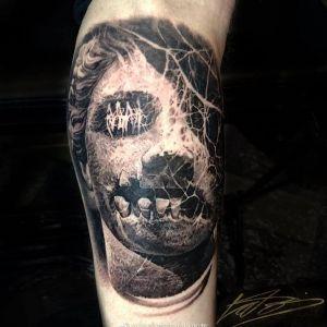 小腿暗黑风写实骷髅纹身图案
