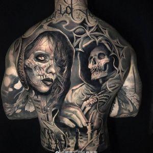 满背写实暗黑风美女骷髅纹身图案