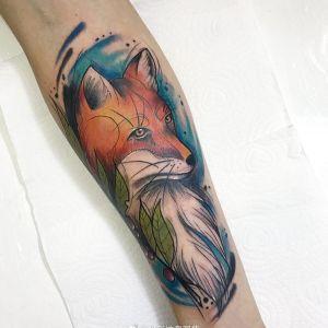 小臂水彩风霸气狐狸纹身图案