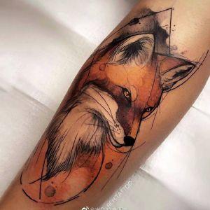 小臂水彩风狐狸纹身图案