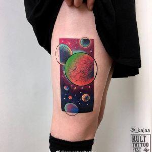 大腿newschool太阳星系纹身图案
