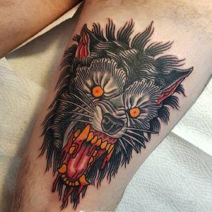 大腿oldschool狼纹身图案