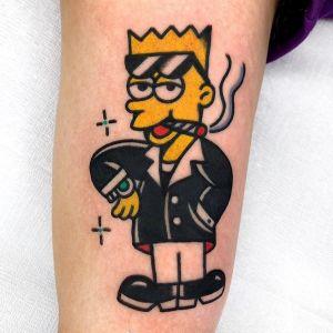 手臂oldschool辛普森纹身图案
