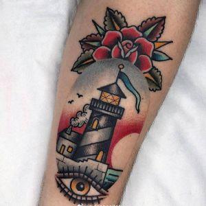 手臂oldschool眼睛玫瑰灯塔纹身图案