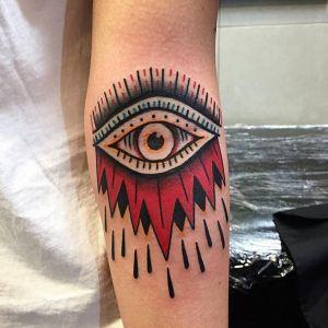 小臂oldschool眼睛纹身图案