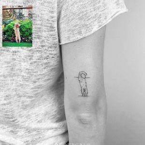 大臂小清新狗狗纹身图案
