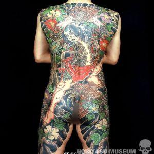 传统满背日本武士纹身图案