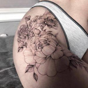 大腿小清新黑灰风牡丹花菊花纹身图案