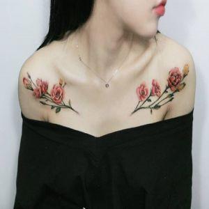 锁骨小清新玫瑰花纹身图案