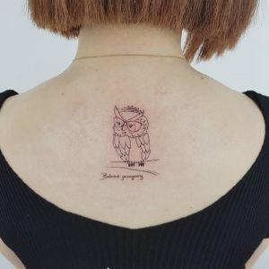 背部小清新猫头鹰纹身图案