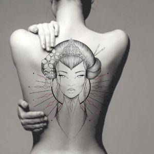 满背小清新黑灰风艺伎纹身图案