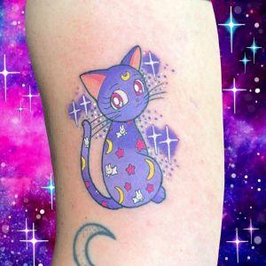 手臂newschool猫咪可爱纹身图案