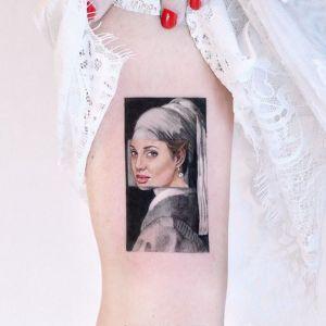 腿部小清新插画纹身图案