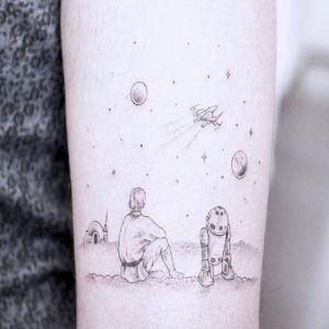 手臂小清新黑灰风纹身图案