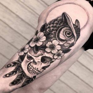 大腿点刺风黑灰风骷髅猫头鹰纹身图案