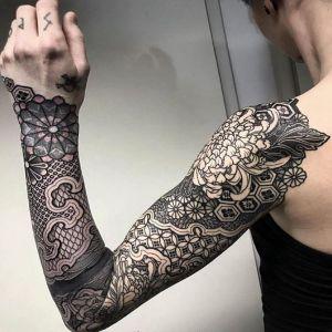 花臂点刺风黑灰风菊花纹身图案
