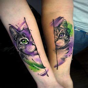 小臂传统猫咪纹身图案