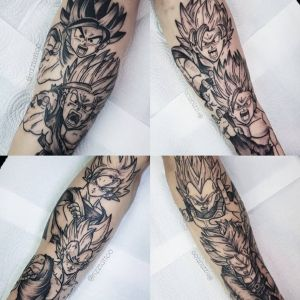 小腿传统动漫七龙珠纹身图案