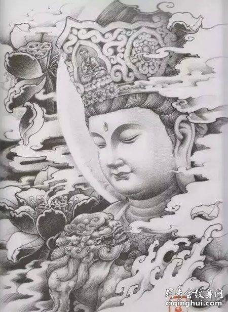 莲花如来佛祖纹身手稿